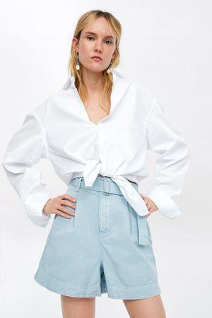 Zara Damen Shorts - Mom-fit-bermudashorts mit gürtel