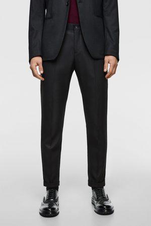 Zara Herren Stoffhosen - Anzughose mit strukturmuster im cropped-schnitt