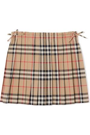 Burberry Mädchen Bedruckte Röcke - Vintage Check Pleated Skirt - Nude