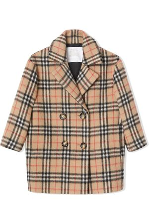 Burberry Vintage Check Alpaca Wool Blend Pea Coat - Nude