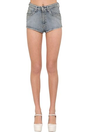 Miu Miu Damen Shorts - Crystal Embellished Cotton Denim Shorts