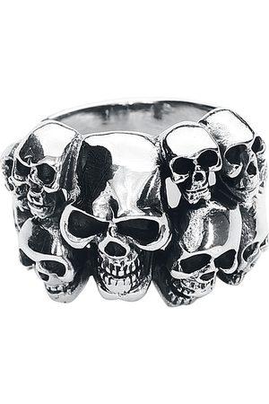 etNox hard and heavy Skulls Ring silberfarben