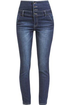 Forplay Damen High Waisted - High Waist Denim Jeans Girl-Jeans dunkelblau