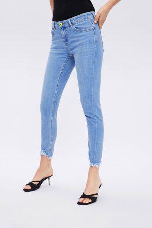 Zara Jeans z1975 mid rise skinny neon-knopf
