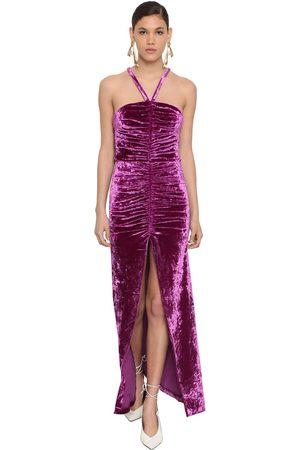 ATTICO Stretch Velvet Gathered Long Dress