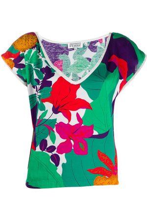 Gianfranco Ferré Damen Shirts - 1980er T-Shirt mit Blumen - Mehrfarbig