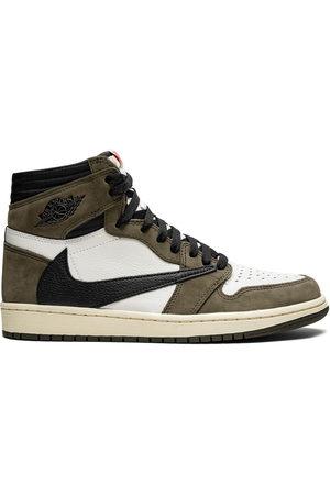 Jordan X Travis Scott 'Air 1 OG' Sneakers - Sail/Dark Mocha-University Red