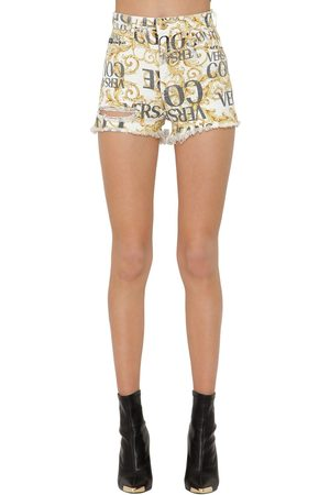 VERSACE Shorts Aus Denim Mit Archivdruck