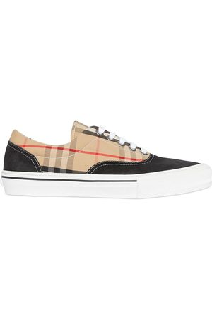 Burberry Herren Sneakers - Vintage Check Cotton and Suede Sneakers