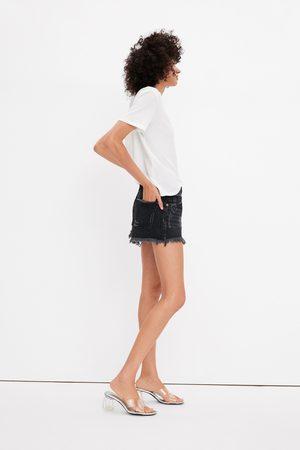 Zara Mid-rise-jeansshorts mit rissen