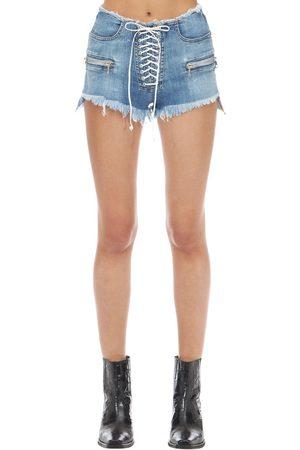 UNRAVEL Washed Cotton Denim Lace-up Shorts
