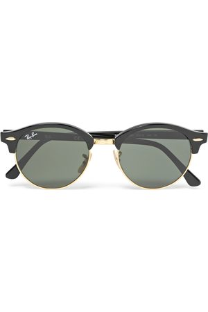 Ray-Ban Herren Sonnenbrillen - Clubmaster Round-Frame Acetate and Gold-Tone Polarised Sunglasses