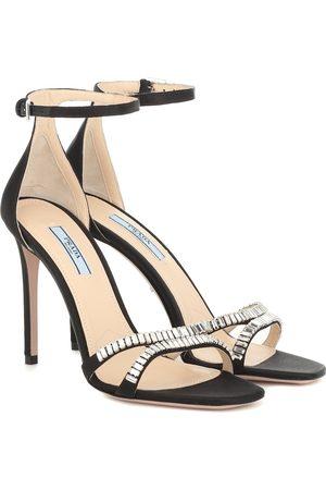 Prada Verzierte Sandalen aus Satin