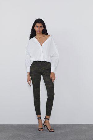 Zara Damen High Waisted - Skinny-jeans z1975 mid rise mit ziernähten