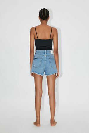 Zara Hi-rise-jeansshorts mit rissen
