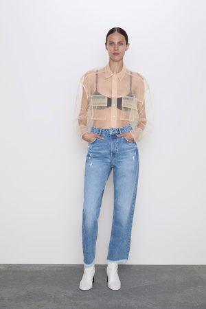 Zara Jeans z1975 hoher bund straight risse