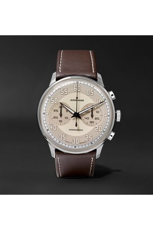 Junghans Herren Uhren - Meister Driver Chronoscope 40mm Stainless Steel And Leather Watch