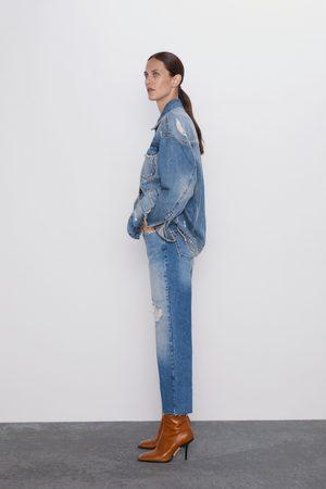 Zara Gerade cropped-jeans z1975 mit hohem bund und rissen