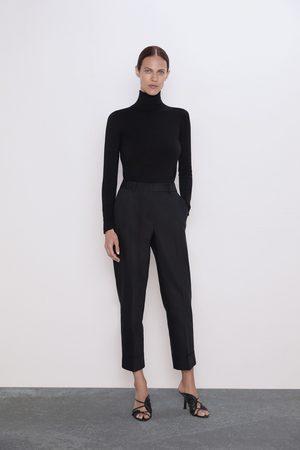Zara Damen Hosen & Jeans - Hose mit umschlag am saum