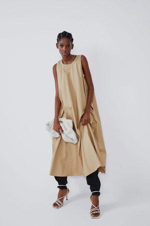 Zara Damen Midikleider - Mittellanges kleid mit taschen