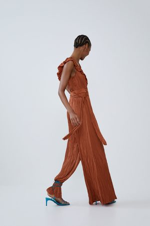 Zara Damen Jumpsuits - Overall mit knitter-effekt