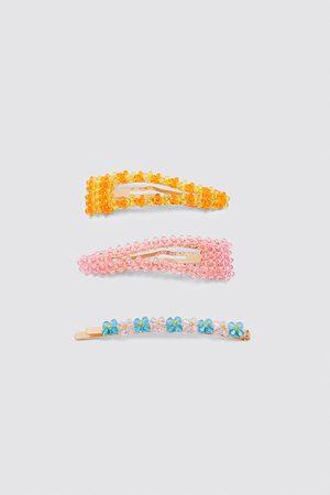 Zara Damen Haarklammern-set mit mehrfarbigen glitzersteinen