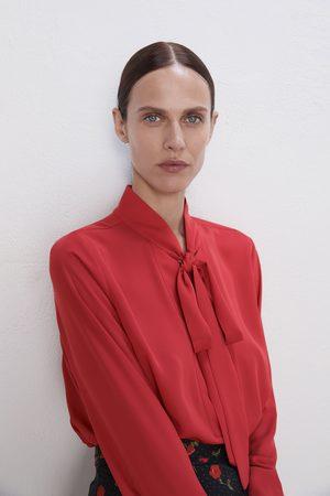 Zara Damen Blusen - Bluse mit schleife