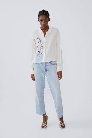 Zara Hemd mit print und weiten ärmeln