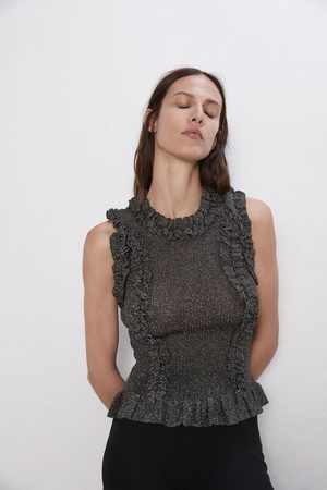 Zara Damen Oberbekleidung - Oberteil mit volant und laméfäden