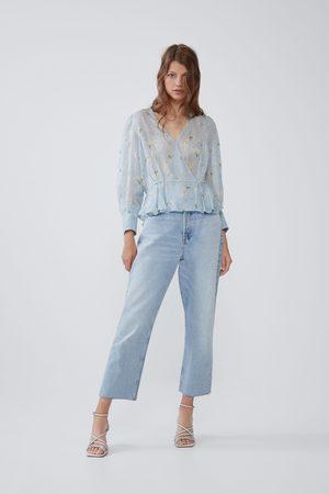 Zara Damen Blusen - Gemustertes hemd mit laméfaden
