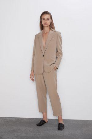 Zara Damen Stoffhosen - Bundfaltenhose