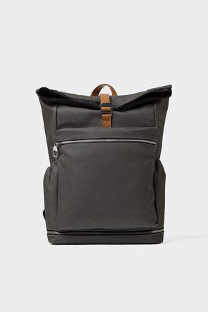 Zara Grauer rucksack mit überschlag