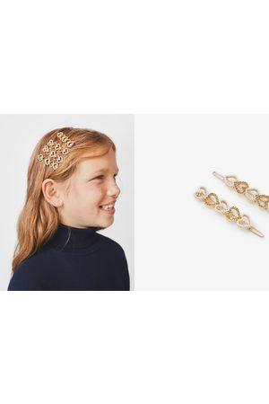 Zara 2er-pack haarspangen mit glitzernden herzen