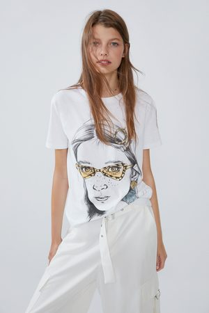 Zara Damen Shirts - T-shirt mit print vorne