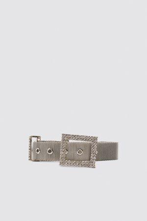 Zara Damen Gürtel - Gürtel mit schnalle aus schmucksteinen