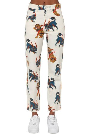 KIRIN Printed Straight Leg Cotton Denim Jeans