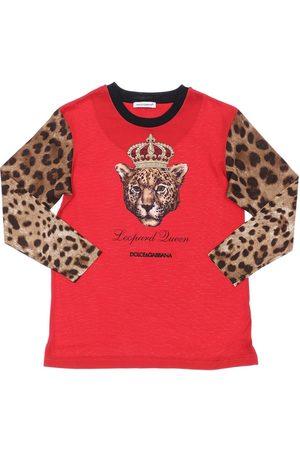 Dolce & Gabbana Langarm-shirt Aus Baumwolljersey Mit Druck