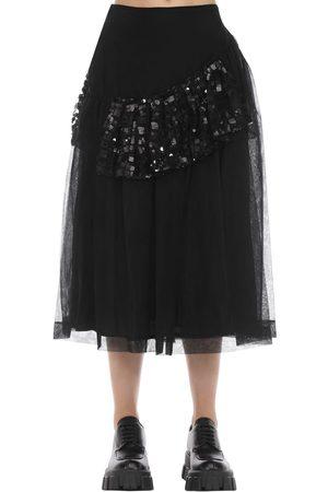 Simone Rocha Patchwork Sequin Ruffled Midi Skirt