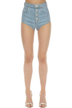 Alessandra Rich Shorts Aus Baumwolldenim