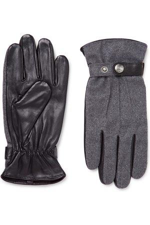 Dents Guildford Mélange Flannel And Leather Gloves