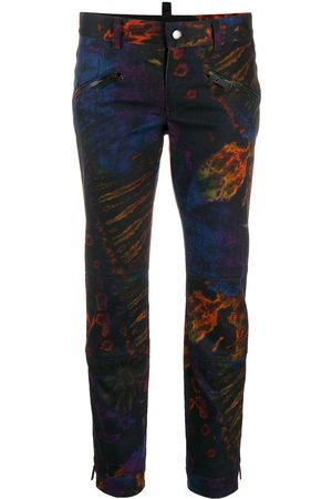 Dsquared2 Cropped-Hose mit Batikmuster - Lila