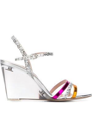 Miu Miu Wedge-Sandalen mit Glitter