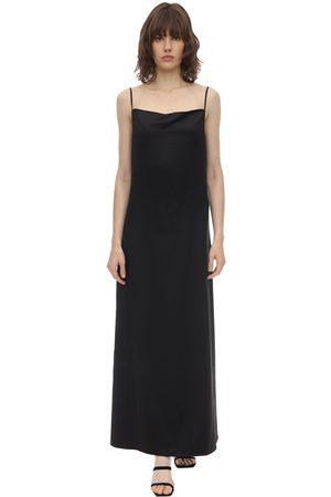 Aéryne Damen Lange Kleider - Long Wrinkled Satin Cami Dress