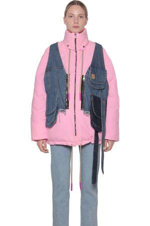 Natasha Zinko Nylon Puffer Coat W/denim Vest
