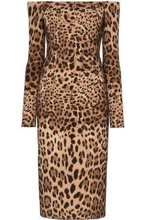 Dolce & Gabbana Schulterfreies Midikleid mit Leoparden-Print