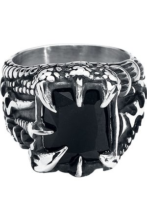 etNox hard and heavy Kristallklaue Ring silberfarben