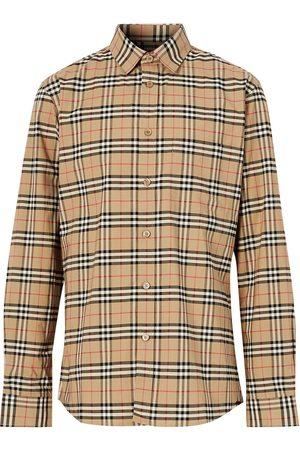 Burberry Herren Shirts - Small Scale Check Stretch Cotton Shirt - Nude