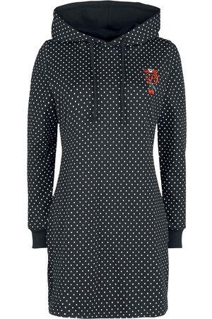 Pussy Deluxe Damen Kleider - Cherries Dots Hooded Sweatdress Kleid /weiß