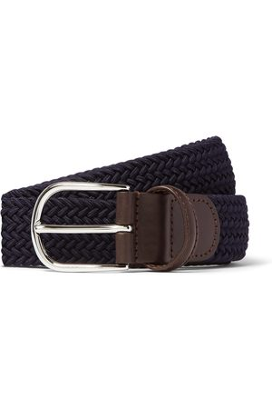 Anderson's Herren Gürtel - 3.5cm Green Leather-trimmed Woven Elastic Belt