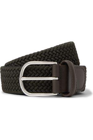 Anderson's Herren Gürtel - 3.5cm Leather-trimmed Woven Elastic Belt